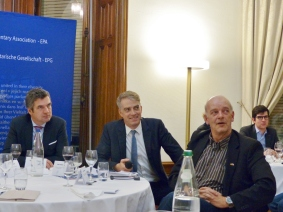 Herbert Dorfmann, MEP and President of the APE, Daniel Köster, Spokesperson of the EPP Group in the European Parliament, and Kai Littmann, Editor of Eurojournalist